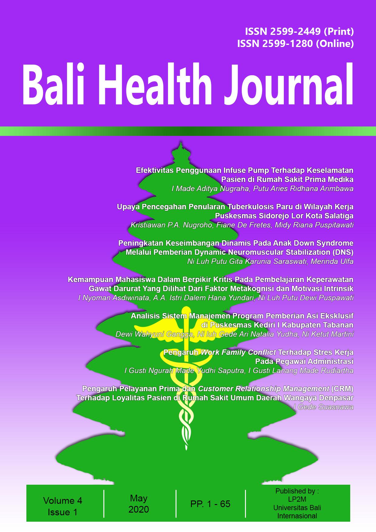 View Vol. 4 No. 1 (2020): Bali Health Journal